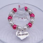 Daughter Wine Glass Charm - Full Sparkle Style